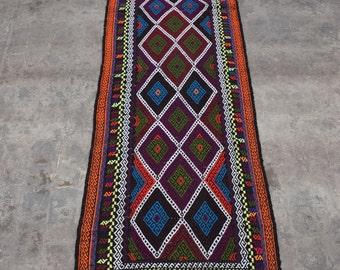 Colorful Suzani kilim, Embroidery runner, Uzbek kilim, Turkish kilim, Cicim kilim,
