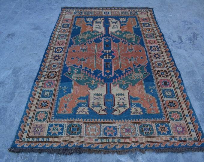 FREE SHIPPING - Vintage Afghan handwoven Sumak woolen kilim / Decorative Afghan Traditional kilim rug 100% wool from Afghanistan