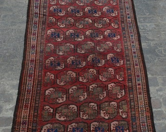 1920's Antique Afghan turkoman tribal handmade wool rug / Decorative rug vintage afghan traditional elephant foot rug/ nomadic afghan rug
