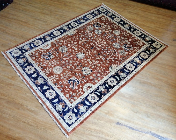 FREE SHIPPING 5'7 x 7'8 ft Stunning hand knotted Afghan Oushak rug ghazni wool this Oushak rug will make your room even more beautiful