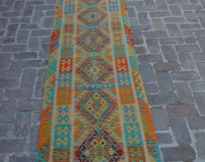Flat Woven Afghan Traditional Modern Kilim rug runner/ Free Shipping - 85 x 488 cm
