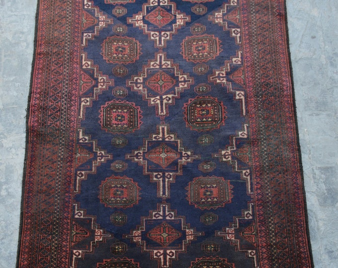 FREE SHIPPING 4'0 x 6'3 ft Vintage Afghan tribal hand knotted rug/ This Traditional Rug will make you room even more beautiful and colorful
