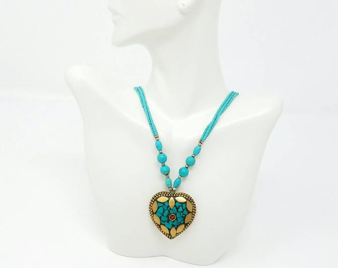 Free shipping Beautiful handmade turquoise Afghan necklace vintage Afghan Jewellery