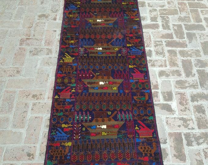 95x280 Afghan hand knotted Tribal war rug runner - baluch runner rug - wool hallway runner rug - free shipping