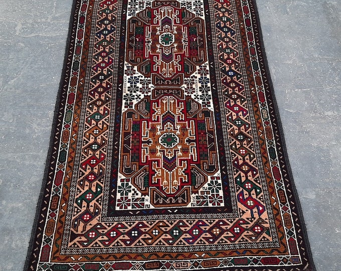 2'10 x 4'11 ft. Afghan tribal hand knotted rug, Traditional Baluchi rug, Free Shipping