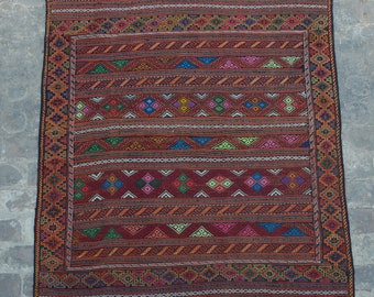 Elegant Colorful afghan vintage Qalaino kilim Needle work by hand