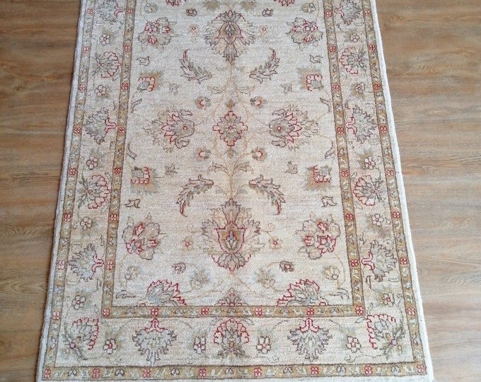 FREE SHIPPING 3'3 x 4'8 ft Stunning hand knotted Afghan Oushak rug ghazni wool this Oushak rug will make your room even more beautiful