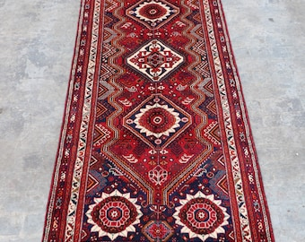 COLLECTOR'S - 1960s Semi - Antique Hand knotted turkish babai rug runner/ Caucasian Traditional rug rare Design