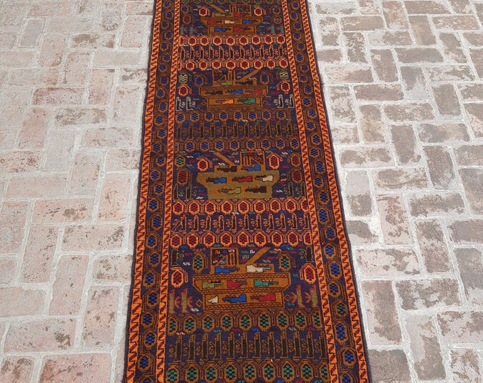 90x308 Afghan hand knotted war rug runner - decorative rug runner - wool rug runner - afghan baluch runner rug - free shipping