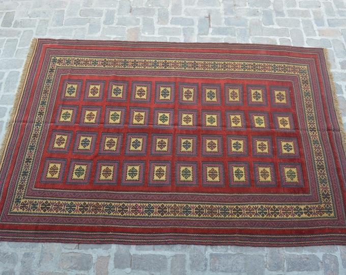 Afghan tribal handmade berjesta large kilim rug/ Free Shipping/ 188 x 279 cm