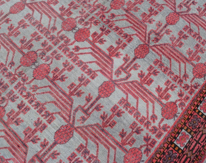 "Antique 6'4"" x 12'6"" Khotan Rug Orange Bone Pomegranate Hand Knotted Wool Rug Art Deco 1910s - FREE SHIPPING"