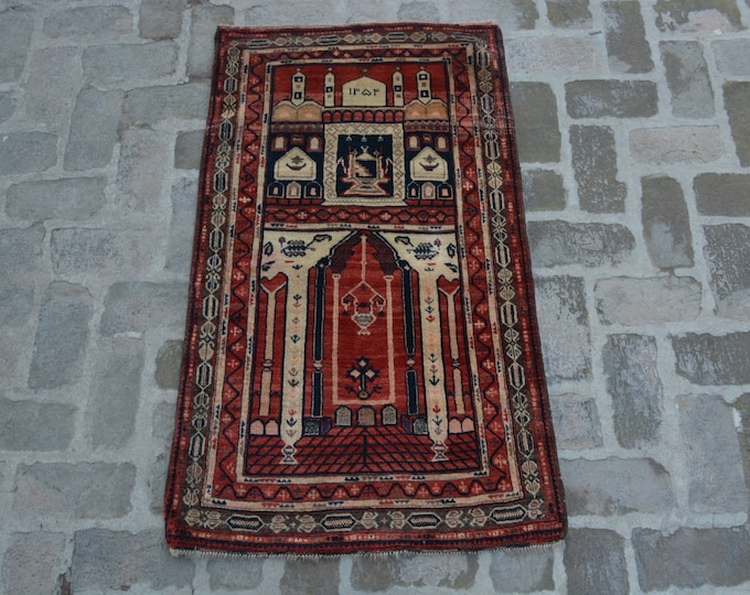 75 x 131 cm. Afghan handmade tribal prayer rug