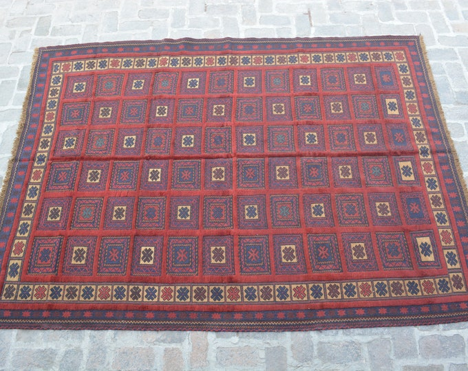 Afghan tribal handmade berjesta large kilim rug/ Free Shipping/ 212 x 282 cm