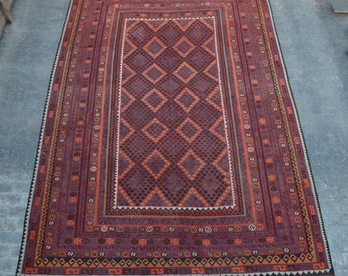 "9'4 x 15'4"" ft. - Vintage Large Afghan Hazara Ghalmori kilim Rug, Tribal handwoven kilim"