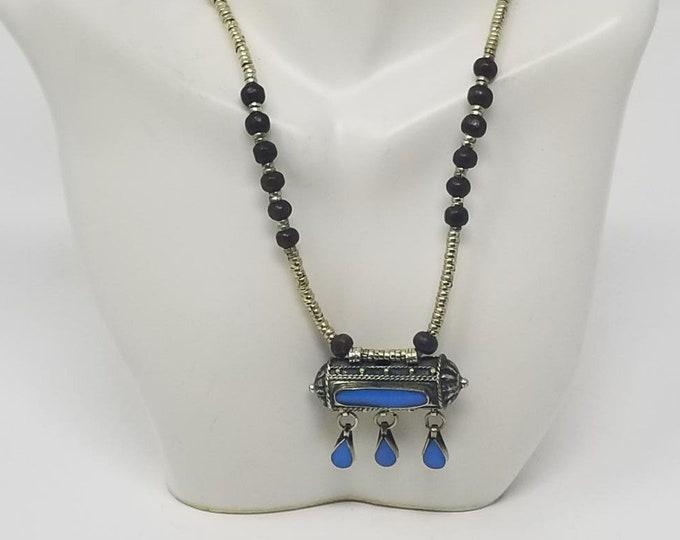 Beautiful vintage Afghan kuchi light blue pendant necklace/ gypsy Ethnic jewelry/ Afghan jewelry , Gypsy style jewelry Boho style