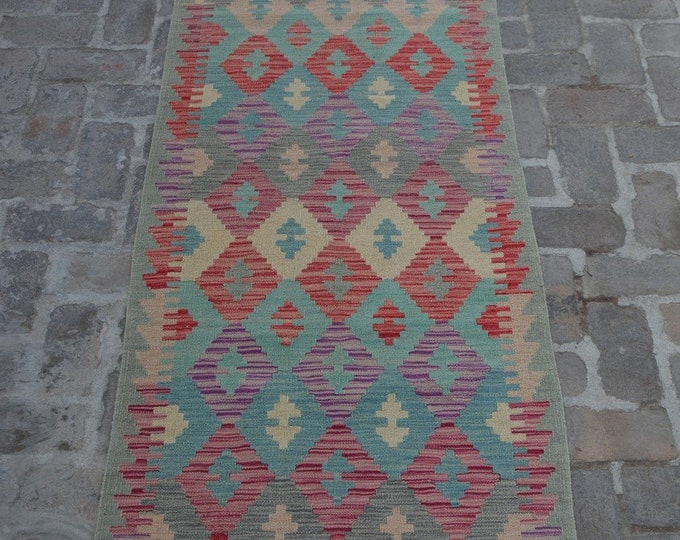 Colorful Handmade Afghan kilim Rug Runner/ Free Shipping - 83 x 393 cm