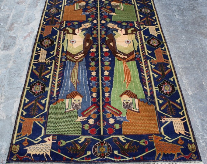 4'0 x 7'0 ft, Fine Quality Reading Book Pictorial rug, Tribal Wall Hanging Carpet, Handmade Afghan oriental rug