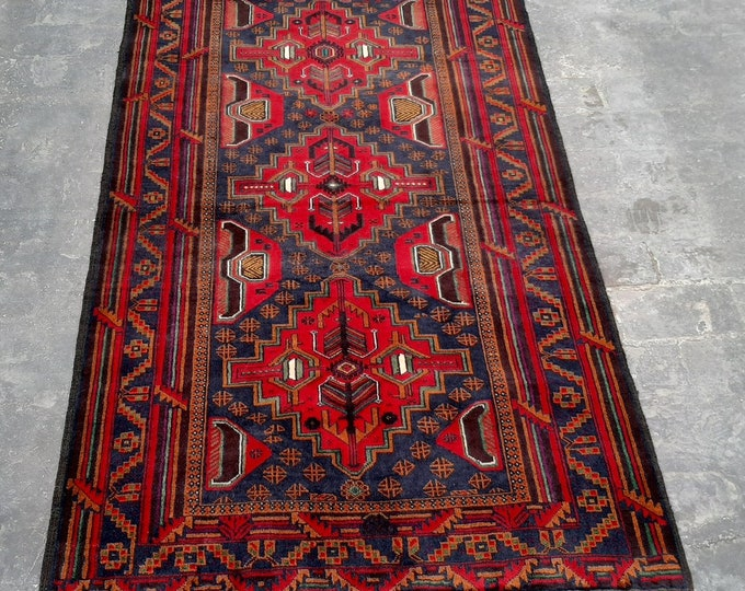 3'9 x 6'4 ft. Afghan tribal hand knotted rug, Traditional Baluchi rug, Free Shipping