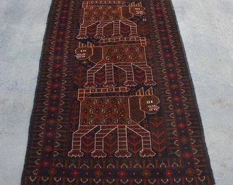 Lion Pictorial Decorative rug vintage afghan traditional rug/ Vintage Afghan baluchi tribal handmade wool rug