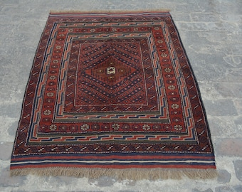 Vintage Elegant Afghan tribal mushwani kilim rug /mixture of kilim and rug - Decorative tribal nomadic mishwani kilim rug/bohemian decor rug