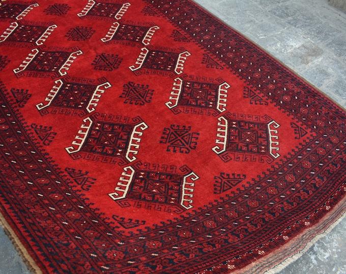 Vintage Afghan tribal hand knotted rug decorative rug / turkoman afghan rug / nomadic bohemian home decor rug Turkoman chinar gul area rug