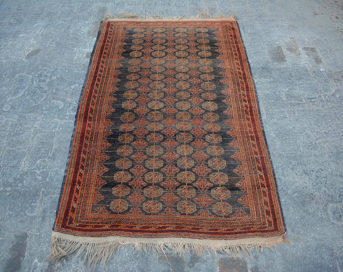 Antique Afghan turkoman tribal tekke Bokhara handmade wool rug / Decorative rug vintage afghan traditional rug
