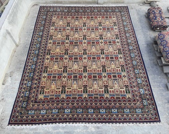13'3 x 17'5 ft. Fine Large Afghan Turkmen Handmade Rug, FREE SHIPPING
