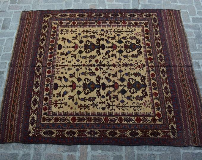Afghan tribal handmade berjesta large kilim rug/ Free Shipping/ 207 x 254 cm