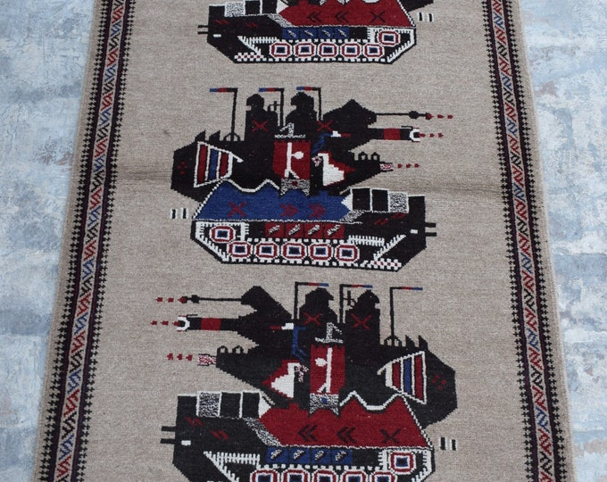 Free Shipping/ Hand knotted tribal War Rug/ 3'0 x 5'0 ft.
