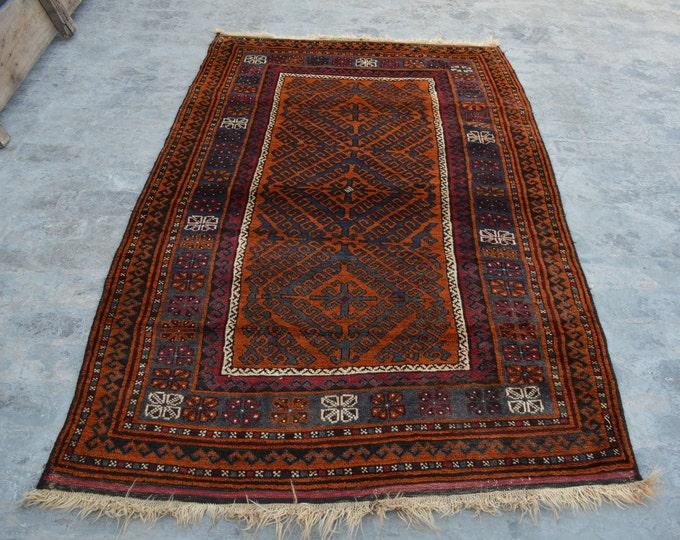 Elegant Handmade Afghan vintage Woolen area rug / 100% wool tribal hand knotted rug / Afghan baluchi rug