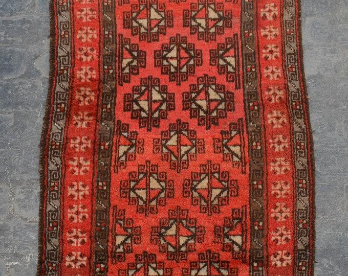Elegant vintage Afghan tribal burnt orange baluchi rug