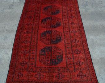 Elegant hand knotted afghan vintage filpai rug