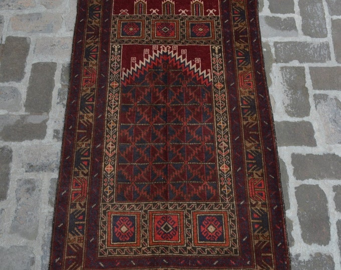 Afghan handmade tribal prayer rug/ 85 x 146 cm