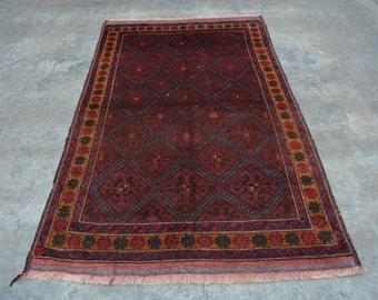 Elegant Afghan turkoman traditional vintage nomad taimani baluchi rug