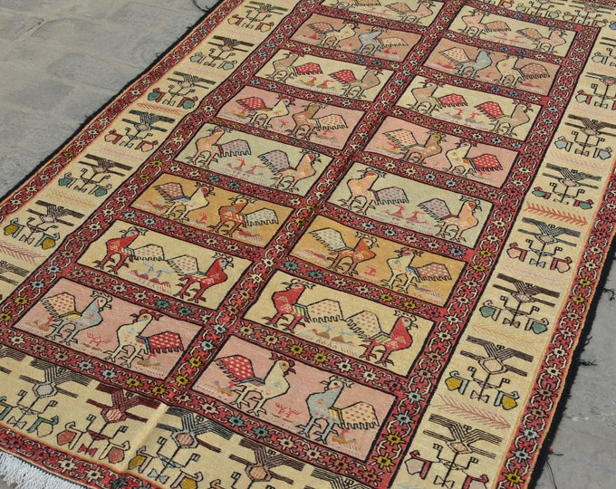 Vintage Spectacular handwoven tribal Turkish nomadic Pictorial Silk kilim / Traditional kuchi kilim/ Turkish Chicken Gypsy Silk kilim