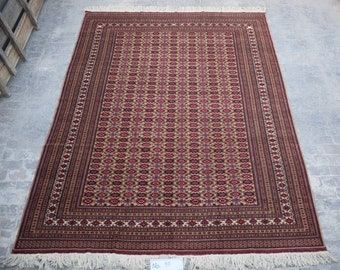 9'7 x 12'8 ft. Fine Large Afghan Turkmen Handmade Rug, FREE SHIPPING