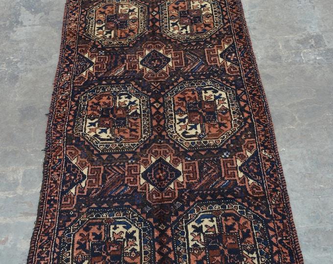 Handmade Caucasian vintage rug runner 100% wool