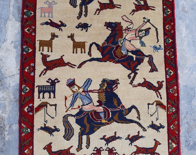 Fine Hand knotted hunting Rug