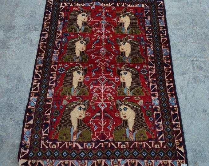 Elegant Handmade Afghan vintage Woolen area pictorial rug / 100% wool tribal hand knotted rug / Afghan baluchi pictorial rug