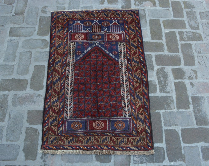 86 x 133 cm. Afghan handmade tribal prayer rug