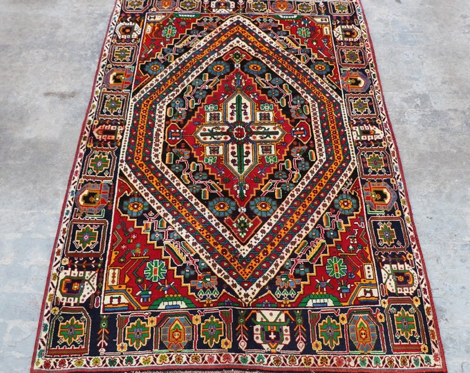 COLLECTOR'S - 1950s Semi - Antique Hand knotted turkish babai Area rug / Caucasian Traditional rug rare Design