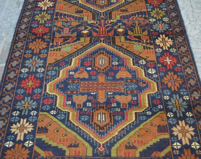 Decorative rug vintage afghan traditional rug/ Vintage Afghan baluchi tribal handmade wool rug