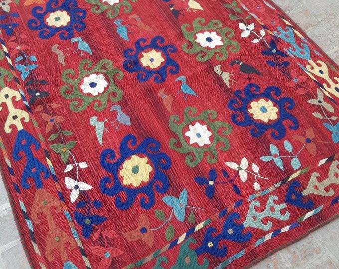 140x182 Uzbek Handmade tribal kilim - Embroidery kilim rug - wool kilim rug - decorative Square kilim - Boho kilim - turkish kilim