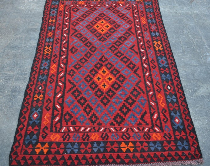 4'5 x 7'6 ft. - Elegant Afghan Tribal ghalmori kilim Rug, Traditional Handwoven Kilim