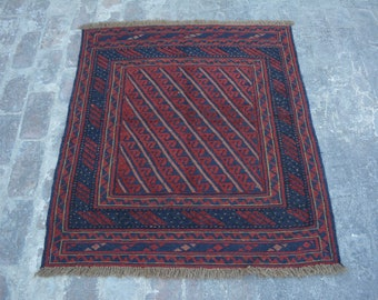 Elegant Afghan tribal mushwani kilim rug / mixture of kilim and rug
