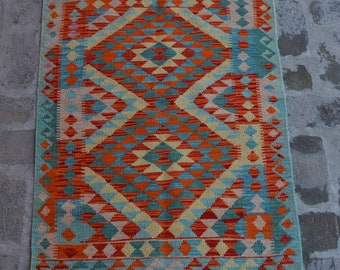 SUZANNE - Afghan Flatwoven kilim Rug, Handmade Modern Kilim