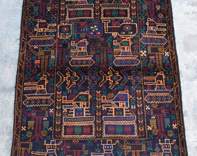 Afghan hand knotted tribal War Rug/ 3'0 x 4'4 ft.