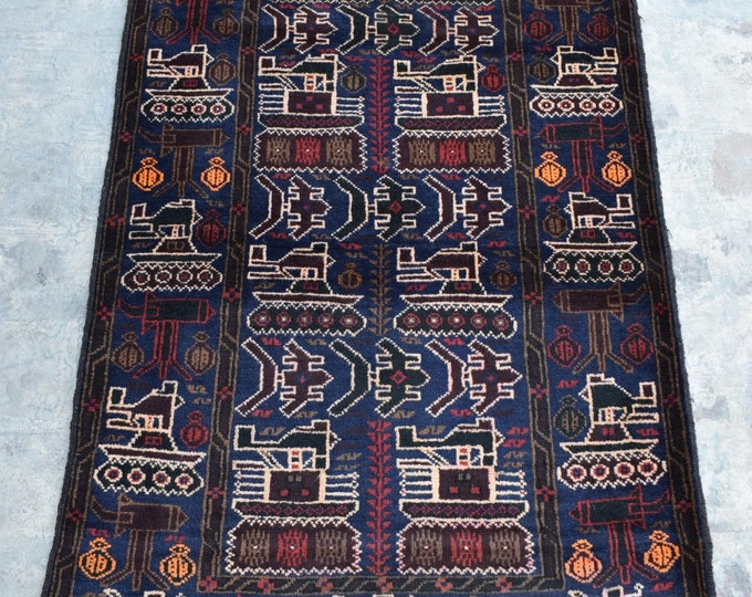 Afghan hand knotted tribal War Rug/ 3'0 x 4'10 ft.