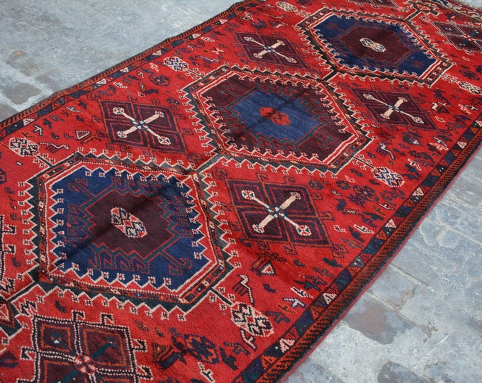 Antique Stunning hand knotted caucasian tribal wool rug / Decorative rug vintage Caucasian traditional rug