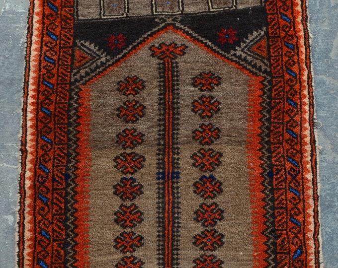 Vintage nomad Afghan prayer rug baluch rug